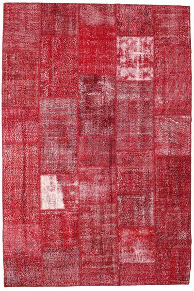 Patchwork Matto 203X302 Moderni Käsinsolmittu Punainen/Ruoste (Villa, Turkki)