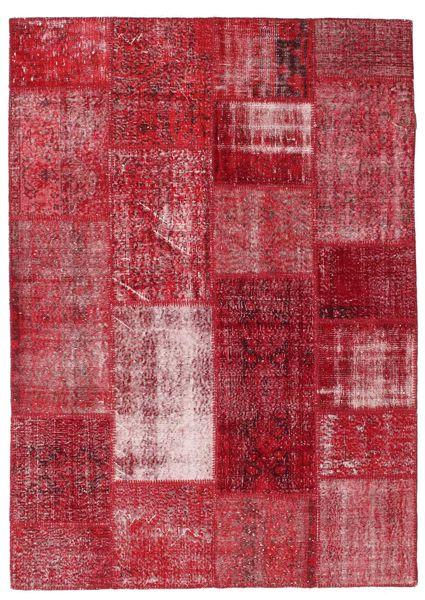 Patchwork Matto 163X229 Moderni Käsinsolmittu Punainen/Tummanpunainen (Villa, Turkki)