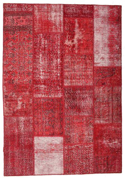 Patchwork Matto 163X233 Moderni Käsinsolmittu Punainen/Ruoste (Villa, Turkki)