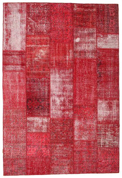 Patchwork Matto 203X301 Moderni Käsinsolmittu Punainen/Ruoste (Villa, Turkki)