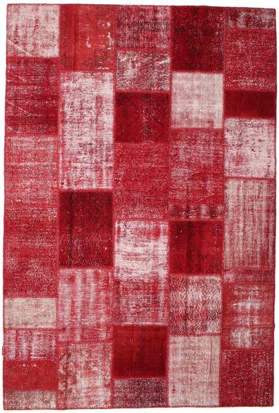 Patchwork Matto 199X297 Moderni Käsinsolmittu Punainen/Tummanpunainen (Villa, Turkki)