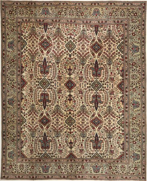 Tabriz Patina Matto 305X377 Itämainen Käsinsolmittu Ruskea/Vaaleanruskea Isot (Villa, Persia/Iran)