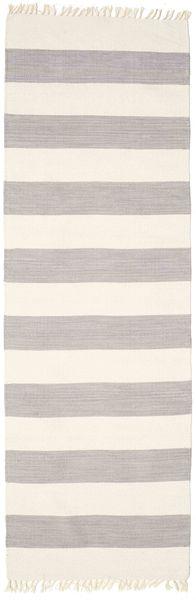Cotton Stripe - Steel Grey Matto 80X250 Moderni Käsinkudottu Käytävämatto Vaaleanharmaa (Puuvilla, Intia)