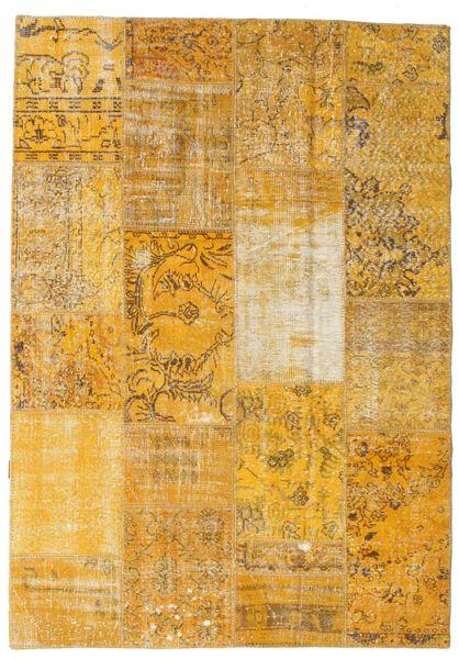 Patchwork Matto 161X230 Moderni Käsinsolmittu Keltainen/Vaaleanruskea (Villa, Turkki)