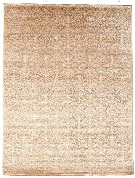 Damask Matto 226X298 Moderni Käsinsolmittu Beige/Tummanbeige ( Intia)