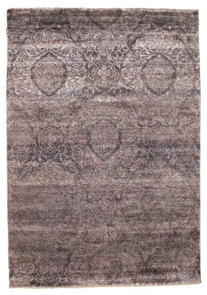 Damask Matto 167X238 Moderni Käsinsolmittu Tummanruskea ( Intia)