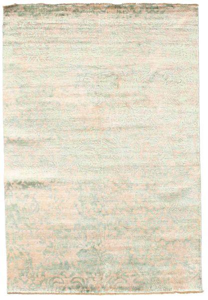 Damask Matto 168X246 Moderni Käsinsolmittu Beige/Valkoinen/Creme ( Intia)