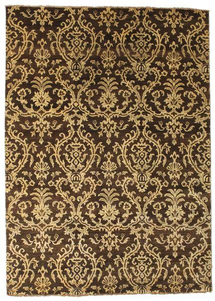 Damask Matto 172X240 Moderni Käsinsolmittu Tummanruskea/Vaaleanruskea ( Intia)