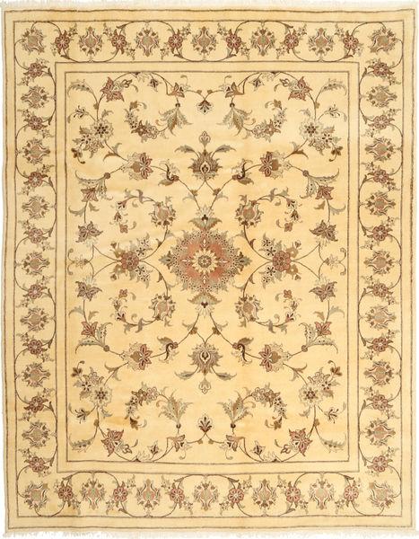 Yazd Matto 197X254 Itämainen Käsinsolmittu Tummanbeige/Keltainen/Beige (Villa, Persia/Iran)