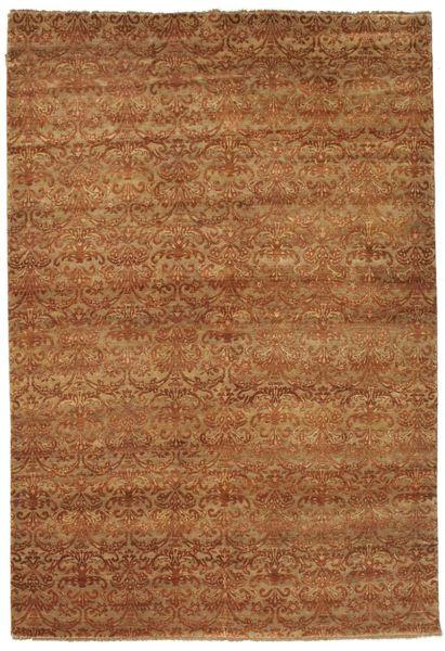 Damask Matto 183X270 Moderni Käsinsolmittu Ruskea/Vaaleanruskea ( Intia)