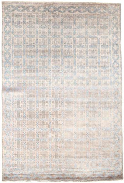 Damask Matto 184X274 Moderni Käsinsolmittu Vaaleanharmaa/Valkoinen/Creme ( Intia)