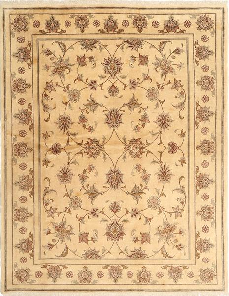 Yazd Matto 191X248 Itämainen Käsinsolmittu Keltainen/Tummanbeige (Villa, Persia/Iran)