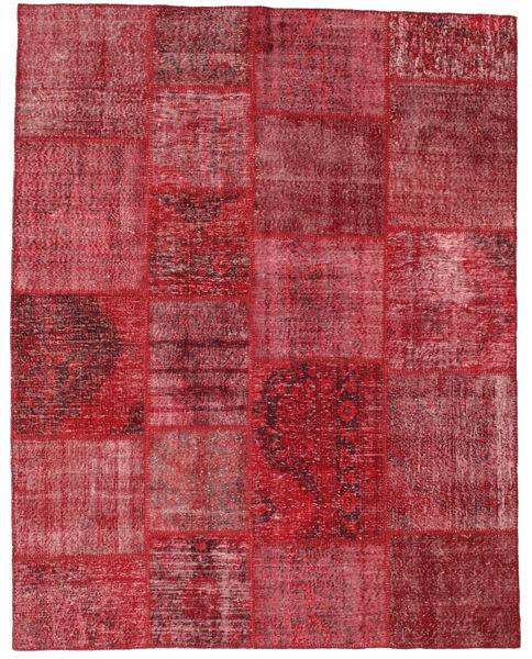 Patchwork Matto 197X250 Moderni Käsinsolmittu Tummanpunainen/Ruoste (Villa, Turkki)