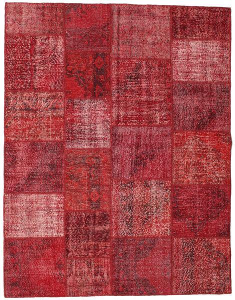 Patchwork Matto 196X250 Moderni Käsinsolmittu Tummanpunainen/Punainen (Villa, Turkki)