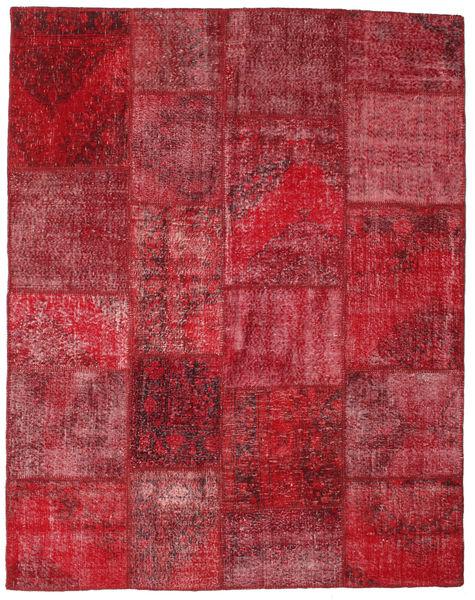 Patchwork Matto 198X250 Moderni Käsinsolmittu Tummanpunainen/Punainen (Villa, Turkki)