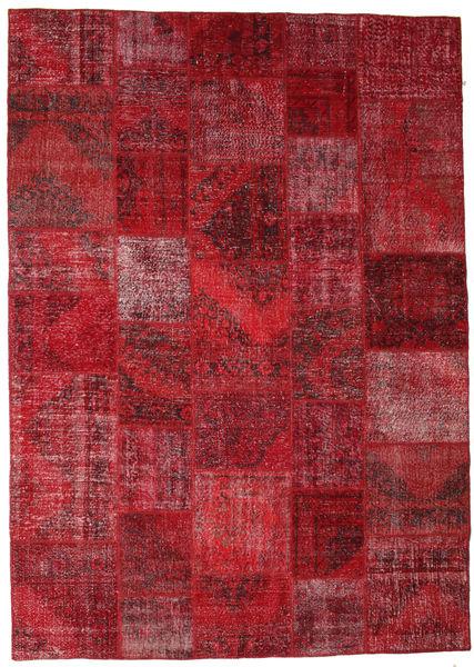 Patchwork Matto 248X350 Moderni Käsinsolmittu Tummanpunainen/Punainen (Villa, Turkki)