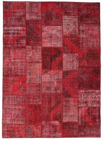 Patchwork Matto 248X348 Moderni Käsinsolmittu Tummanpunainen/Punainen (Villa, Turkki)