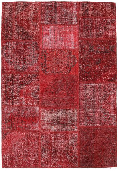 Patchwork Matto 159X231 Moderni Käsinsolmittu Tummanpunainen/Punainen (Villa, Turkki)