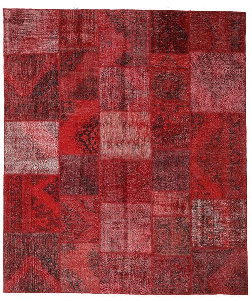 Patchwork Matto 250X290 Moderni Käsinsolmittu Tummanpunainen/Punainen Isot (Villa, Turkki)