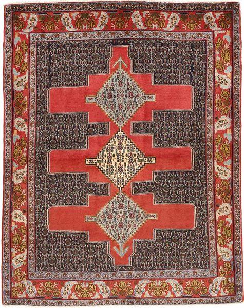Senneh Matto 123X157 Itämainen Käsinsolmittu Tummanpunainen/Tummanruskea (Villa, Persia/Iran)