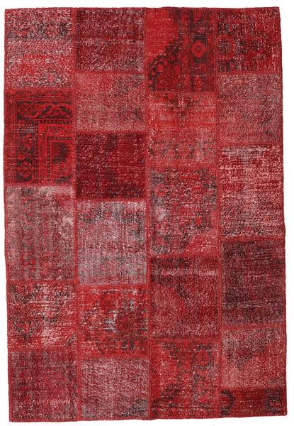 Patchwork Matto 157X230 Moderni Käsinsolmittu Tummanpunainen/Punainen (Villa, Turkki)