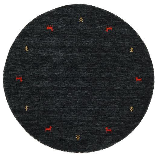 Gabbeh Loom Two Lines - Musta/Harmaa Matto Ø 150 Moderni Pyöreä Musta (Villa, Intia)