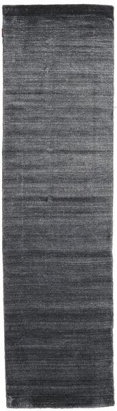 Bamboo Silkki Loom - Charcoal Matto 80X300 Moderni Käytävämatto Tummanharmaa/Violetti ( Intia)
