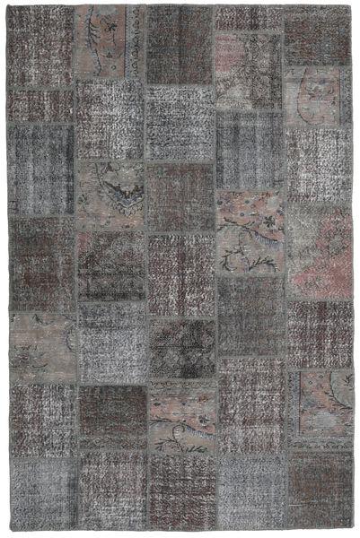 Patchwork Matto 198X300 Moderni Käsinsolmittu Tummanharmaa/Vaaleanharmaa (Villa, Turkki)