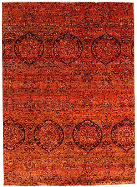 Sari 100% Silkki Matto 174X243 Moderni Käsinsolmittu Ruoste/Punainen (Silkki, Intia)