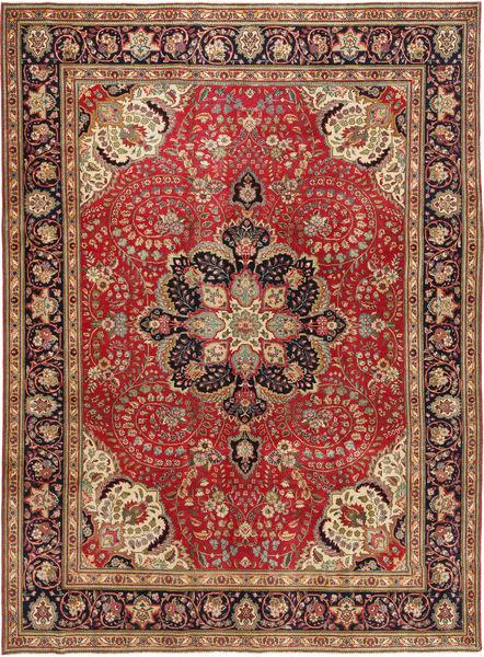 Tabriz Patina Matto 254X347 Itämainen Käsinsolmittu Tummanpunainen/Tummanruskea Isot (Villa, Persia/Iran)
