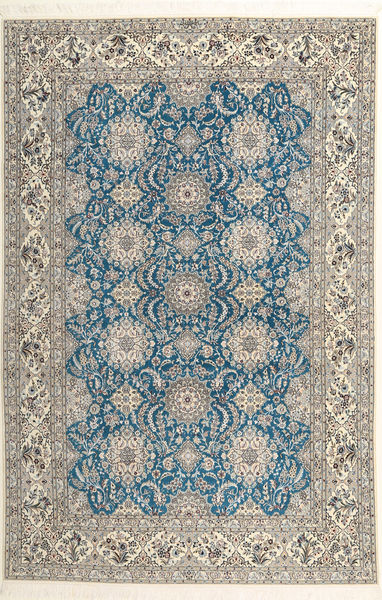 Nain 6La Habibian Matto 210X323 Itämainen Käsinsolmittu Vaaleanharmaa/Tummanbeige (Villa/Silkki, Persia/Iran)