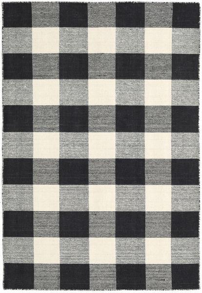 Check Kilim - Musta/Valkoinen Matto 120X180 Moderni Käsinkudottu Tummanharmaa/Beige (Villa, Intia)