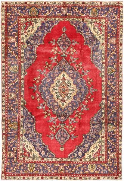 Tabriz Matto 208X310 Itämainen Käsinsolmittu Tummanpunainen/Punainen (Villa, Persia/Iran)