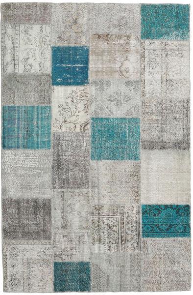 Patchwork Matto 198X302 Moderni Käsinsolmittu Vaaleanharmaa/Sininen (Villa, Turkki)