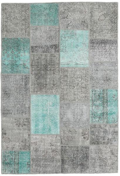Patchwork Matto 158X232 Moderni Käsinsolmittu Siniturkoosi/Vaaleanharmaa (Villa, Turkki)
