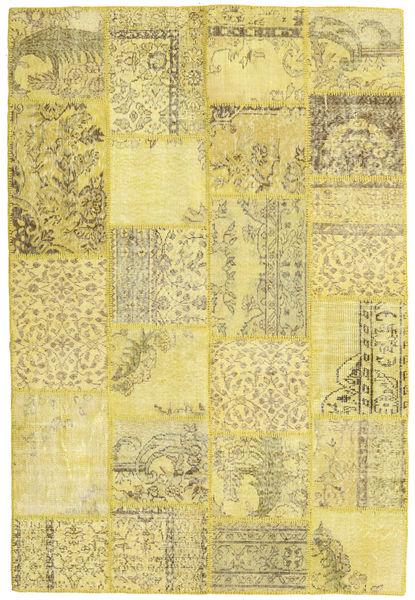 Patchwork Matto 159X236 Moderni Käsinsolmittu Keltainen/Oliivinvihreä (Villa, Turkki)