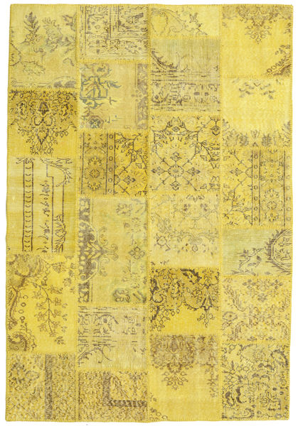 Patchwork Matto 158X234 Moderni Käsinsolmittu Keltainen/Oliivinvihreä (Villa, Turkki)