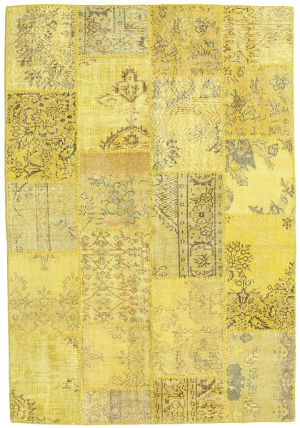 Patchwork Matto 159X230 Moderni Käsinsolmittu Keltainen/Oliivinvihreä (Villa, Turkki)