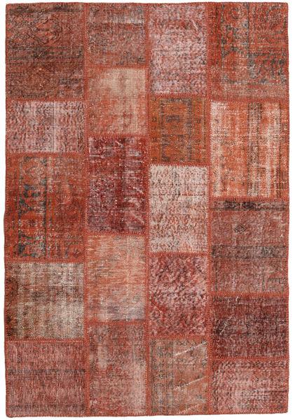 Patchwork Matto 139X204 Moderni Käsinsolmittu Tummanpunainen/Tummanruskea (Villa, Turkki)