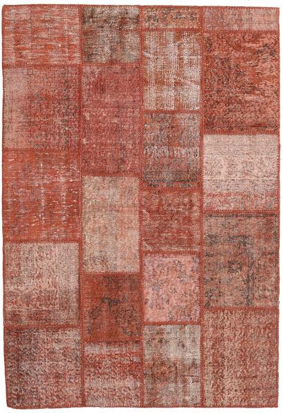 Patchwork Matto 138X202 Moderni Käsinsolmittu Tummanpunainen/Vaaleanpunainen (Villa, Turkki)