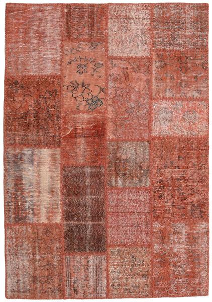 Patchwork Matto 138X200 Moderni Käsinsolmittu Tummanpunainen/Punainen (Villa, Turkki)