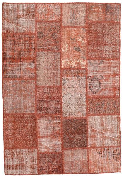 Patchwork Matto 138X203 Moderni Käsinsolmittu Tummanpunainen/Vaaleanpunainen (Villa, Turkki)