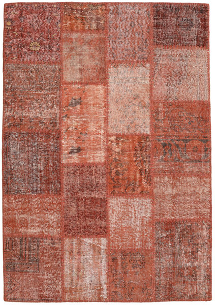 Patchwork Matto 139X201 Moderni Käsinsolmittu Tummanpunainen/Punainen (Villa, Turkki)