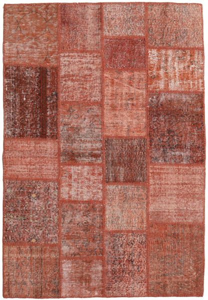 Patchwork Matto 138X203 Moderni Käsinsolmittu Tummanpunainen/Punainen (Villa, Turkki)