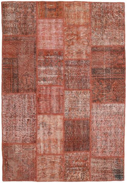 Patchwork Matto 139X202 Moderni Käsinsolmittu Tummanpunainen/Vaaleanpunainen (Villa, Turkki)