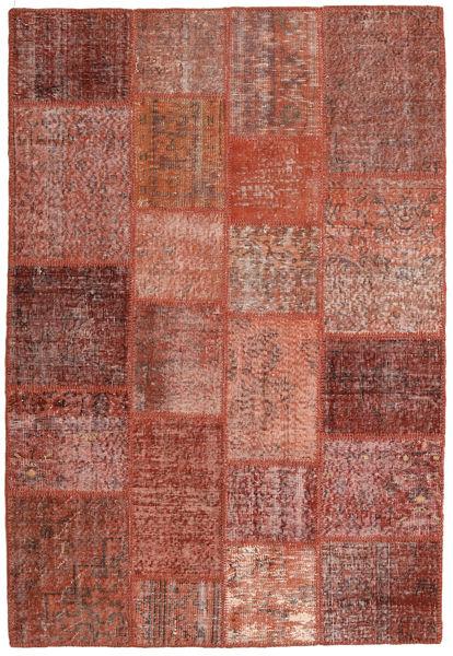 Patchwork Matto 138X204 Moderni Käsinsolmittu Tummanpunainen/Punainen (Villa, Turkki)