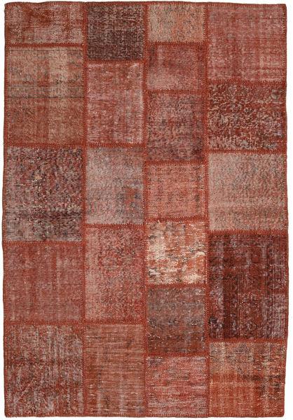 Patchwork Matto 138X204 Moderni Käsinsolmittu Tummanpunainen/Tummanruskea (Villa, Turkki)