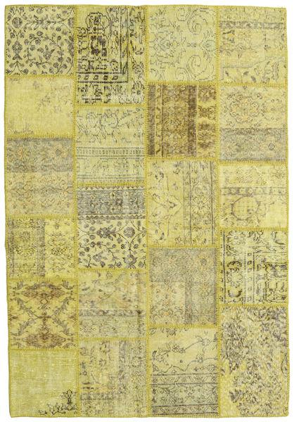 Patchwork Matto 159X232 Moderni Käsinsolmittu Keltainen/Vaaleanvihreä/Oliivinvihreä (Villa, Turkki)