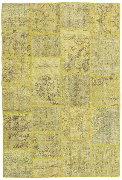 Patchwork Matto 158X234 Moderni Käsinsolmittu Keltainen/Oliivinvihreä/Vaaleanvihreä (Villa, Turkki)