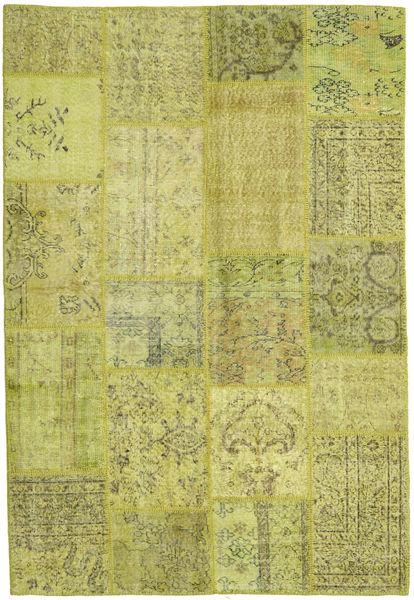 Patchwork Matto 158X233 Moderni Käsinsolmittu Oliivinvihreä/Keltainen/Vaaleanvihreä (Villa, Turkki)